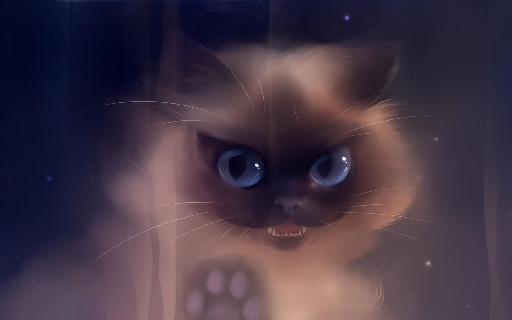 Пушистые рисованные коты